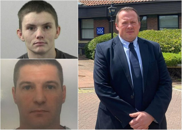 Right: Detective Sergeant Steven Brown, of Northumbria Police, (above left) Declan Lancaster (below left) Patryk Mortimer.