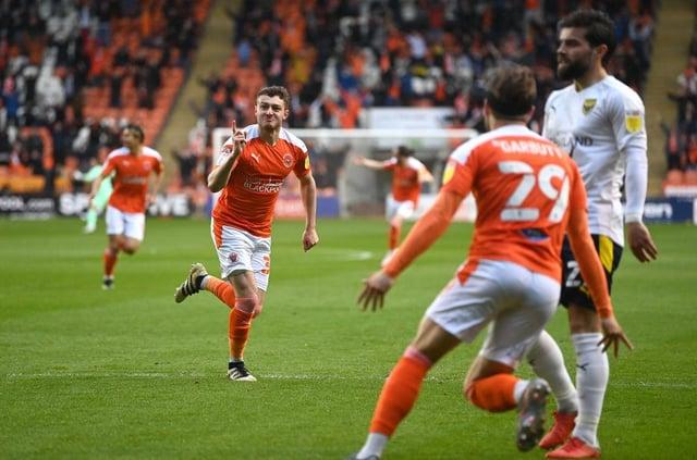 Elliot Embleton celebrates his superb play-off goal for Blackpool
