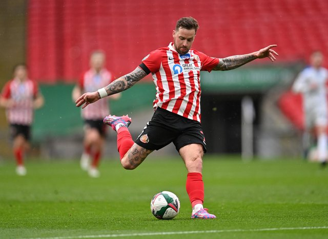 Chris Maguire of Sunderland shoots during the Papa John's Trophy Final match between Sunderland and Tranmere Rovers.