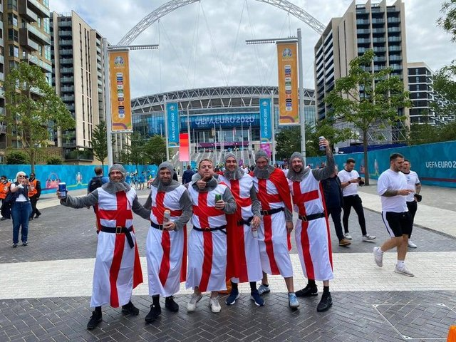 From left to right, Kevin Robinson, Andrew Johnson, Liam Carr, Lee Topping, Ian Turnbull and Craig Bell outside Wembley on Wednesday.