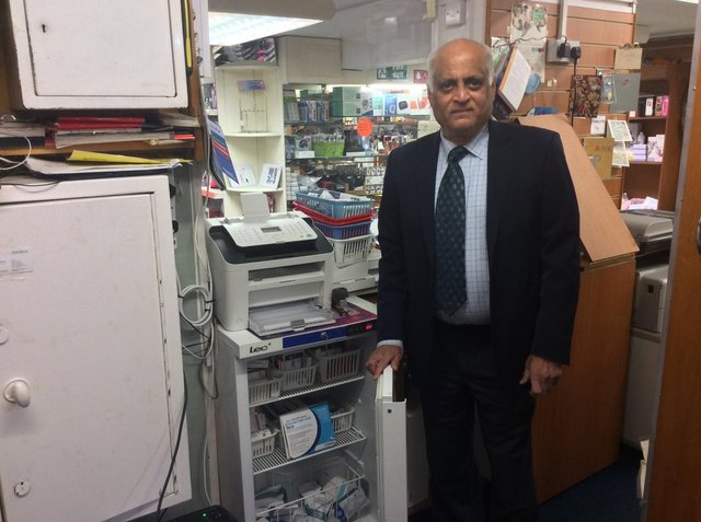Respected Sunderland pharmacist Umesh Patel with one of the fridges where he could store the Oxford vaccine at his Sunderland pharmacy.