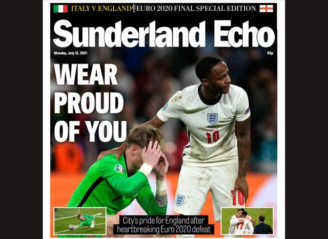 The Sunderland Echo front page on Monday, July 12.