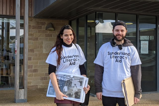 Some of the Sunderland Literacy Aid team with a selection of the photos provided by the Sunderland Echo.