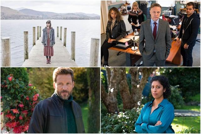 Clockwise from top left: Katherine Kelly as Sally Wright; Shaun Dooley as DCI Mike Braithwaite, Priyanga Burford as Karen and Jamie Bamber as Sam