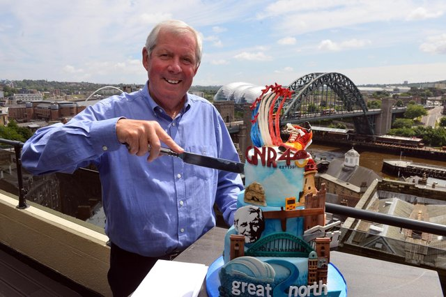 Great North Run founder Sir Brendan Foster with a special cake to celebrate the event's 40th birthday.