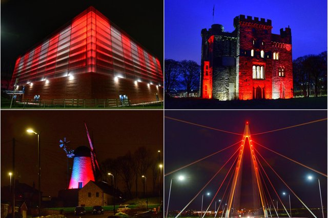 Landmarks across the city have remained lit up red and white following Sunderland AFC's Wembley win.
