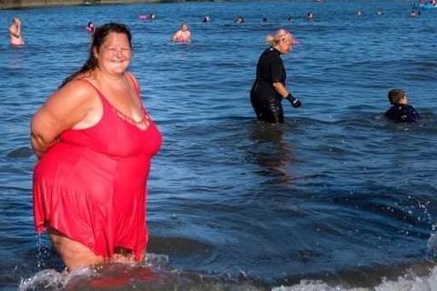 Kathleen Wotton has celebrated her one year anniversary of sea swimming. Photo: Ian Burn.
