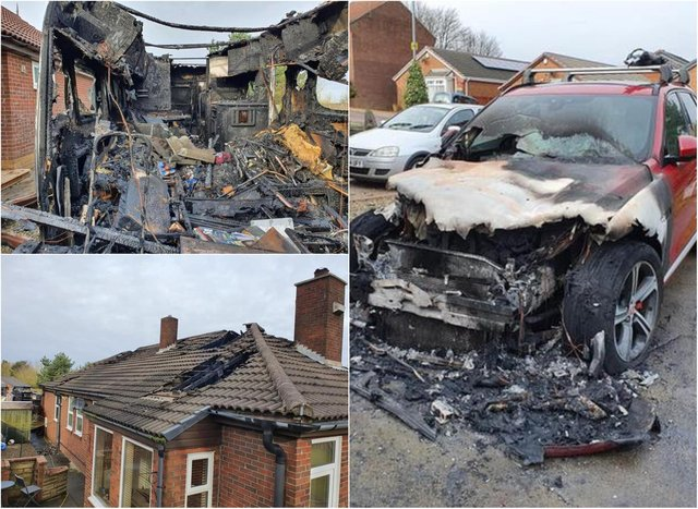 The family's house, car and caravan were set alight in a suspected arson attack