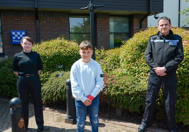 Kyle with student PC Ami Matthews and Inspector Simon Wotton