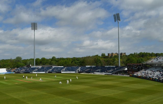 CHESTER-LE-STREET, ENGLAND - MAY 27: A general view of the ground as Spectators are let in for the first time at the Riverside this season during day one of the LV= Insurance County Championship match between Durham and Essex at Emirates Riverside on May 27, 2021 in Chester-le-Street, England. (Photo by Stu Forster/Getty Images)
