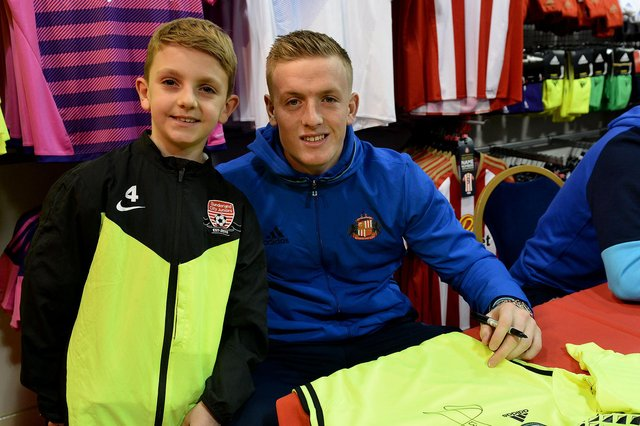 What a moment for Noel Cambell-McGinn (8) as he meets Jordan Pickford in 2016.