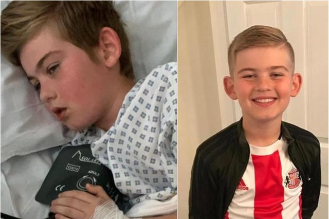 Charlie McPherson battled with PIMS-TS in hospital (left). The ten-year-old Sunderland AFC home is now recovering at home as his mother warns other parents to look out for symptoms.