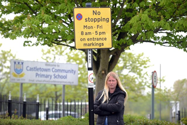 Mum Shauna Ellwood is raising awareness about traffic issues outside Castletown Primary School after her son was hit by a cyclist.