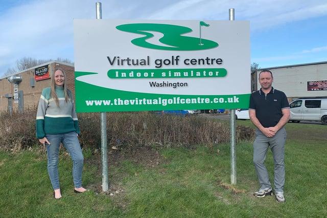 Directors of the Virtual Golf Centre, Emma Watkins and John Briggs.