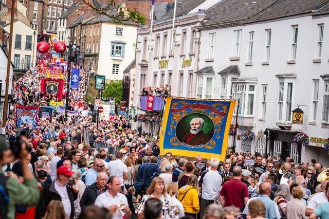 The Durham Miners' Gala, which usually sees tens of thousands of people flock to the city centre to join in the event, has been cancelled for the second year running, with 2022's celebrations to be dedicated to key workers. Photo by Rich Kenworthy.