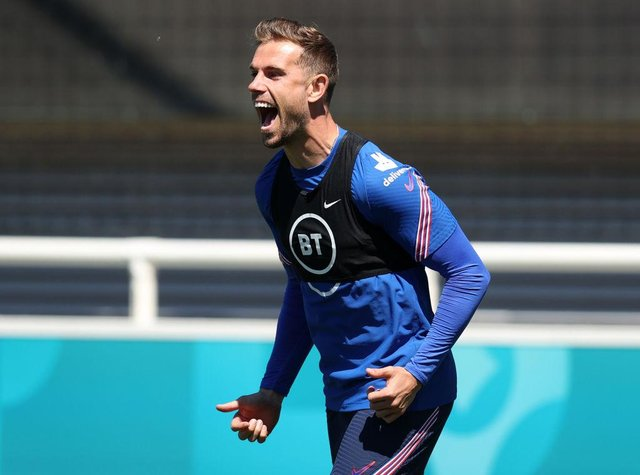 Jordan Henderson during an England training session at St George's Park this week
