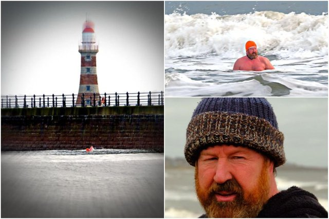 Photos shared with the Echo by John Alderson as he followed one of Leroy Arkley's sea swims at Roker.