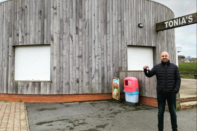 Sean Golightly outside the cafe has he was given the keys.