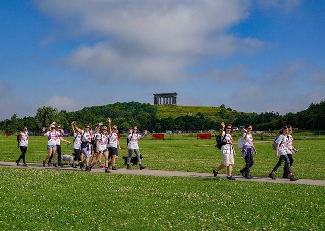 Walkers give a wave at the Herrington Country Park BIG Walk. Picture: North News & Pictures.