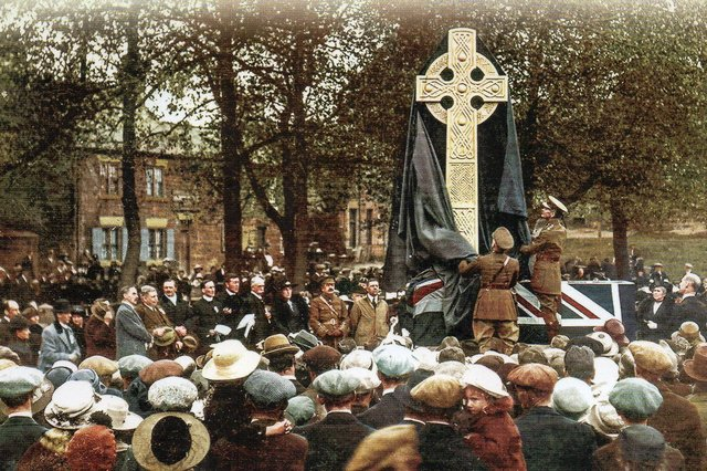 The Washington History Society is interested in all of Washington's history. This picture of theirs shows the unveiling of the war memorial being unveiled by Lord Lambton on June 5, 1920.