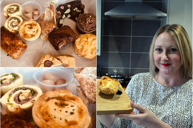 Nicola Ward pictured earlier this year with the Cheesy Chips Matchday pie.