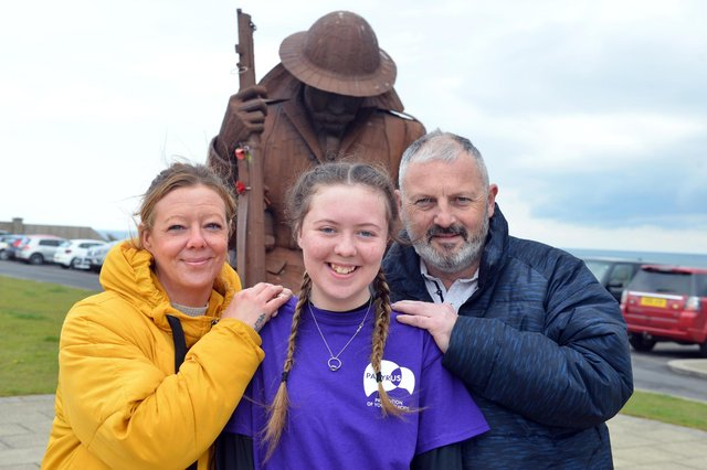 Heart transplant youngster Kayleigh Llewellyn with parents Shaun and Sonia Llewellyn.