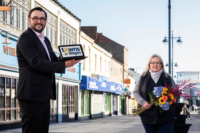 Coun Carl Marshall, Durham County Council's Cabinet member for economic regeneration with Karan Batey, of Karan's Florists, in Church Street, Seaham
