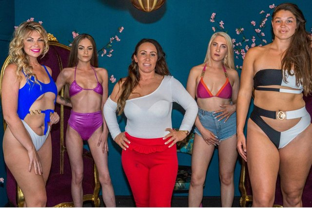 Karen Seafield, centre, with models at her casting call