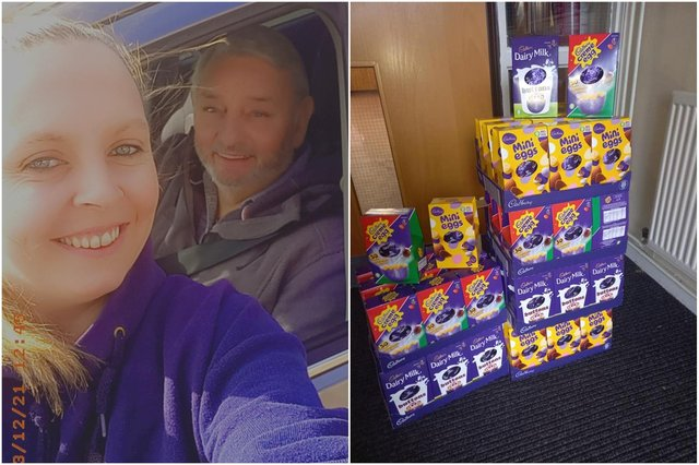 Emma Olsen and Ray Knox with some of the Easter Egg donations