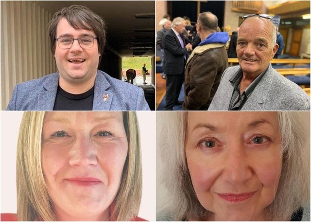 From top left: Paul Edgeworth, Tony Morrow, Christine Reed, and Debra Waller. No candidate statement or photo provided by Pauline Elizabeth Huntley.