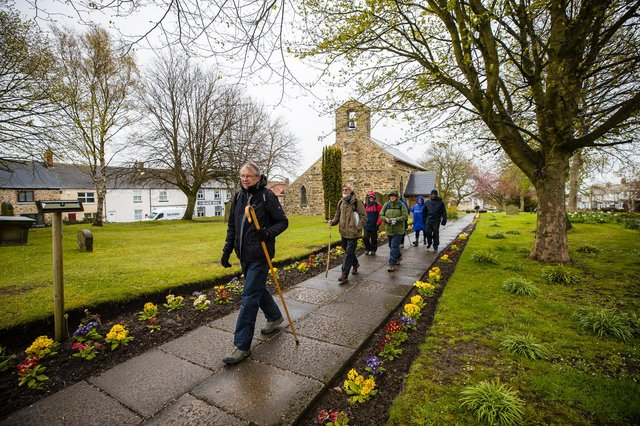 Bishop Paul leads the Inaugural Pilgrim walkers on day two of the Wy of Love from St Mary Magdalene church in Trimdon.