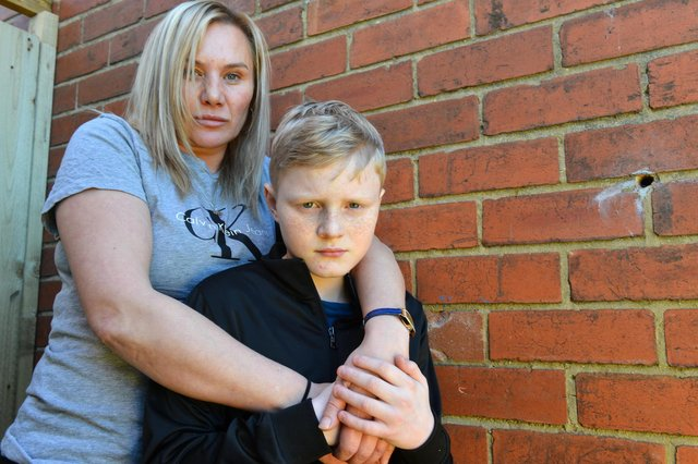 Donna Jones with son Charlie Jones, 11 who were subjected to an attack at Easington Lane.