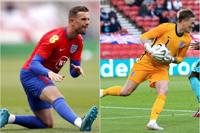 North East stars Jordan Henderson, left, and Jordan Pickford are likely to feature for England. PA images.