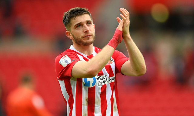 Sunderland player Lynden Gooch reacts dejectedly after the Sky Bet League One Play-off Semi Final 2nd Leg match between Sunderland and Lincoln City  at Stadium of Light on May 22, 2021 in Sunderland, England