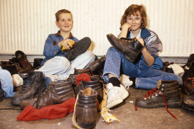 A long stint of boot cleaning lay ahead for these Southmoor School students in 1989.