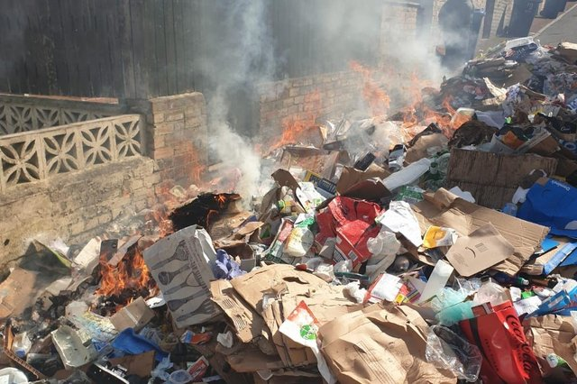 Burning waste tipped out of bin lorry in Whickham (image Gateshead Council)