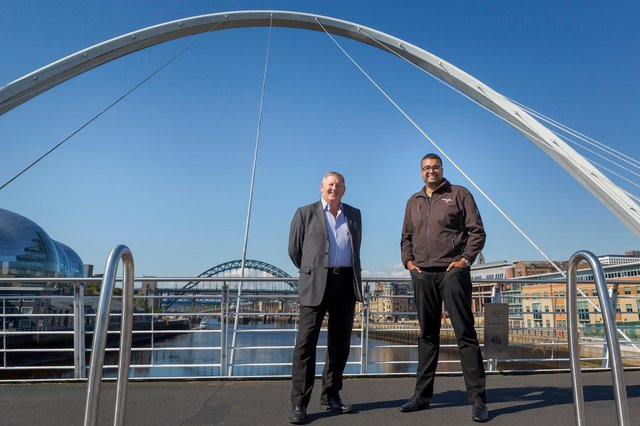 Rohan Kohli, North East Automotive Alliance project manager, right,  with Chris Black from TR Fastenings  Picture: DAVID WOOD