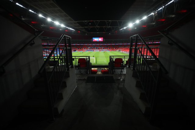 General view inside the stadium ahead of the international friendly match between England and Wales at Wembley Stadium.