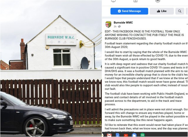 Burnside Working Men's Club football team has apologised on Facebook following a charity fundraising event which saw 28 people become infected with coronavirus