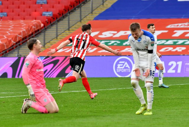 Lynden Gooch celebrates the winning goal.