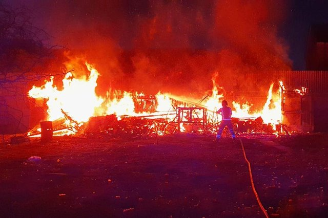 A photo shared by County Durham and Darlington Fire and Rescue Service of the allotment blaze in Brandling Court, Shotton Colliery.