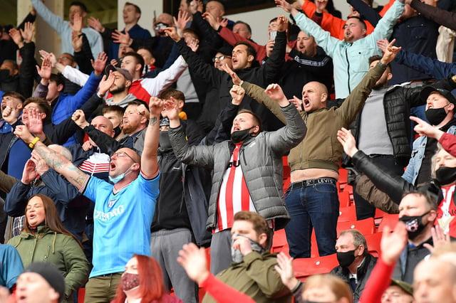 Sunderland fans inside of the Stadium of Light.