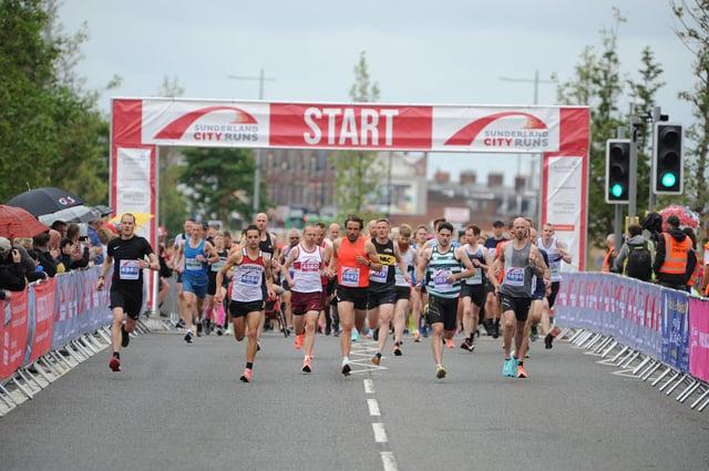 Runners set off from St Mary's Way at the start of the Sunderland City Runs half marathon.
