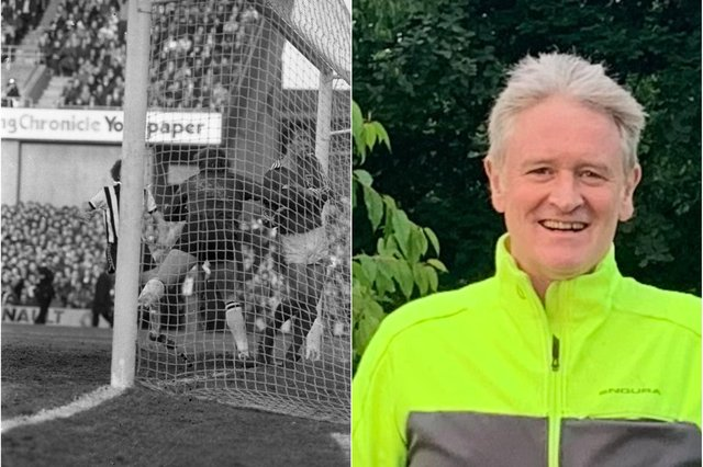 Wayne Enwistle scoring the last goal in Sunderland's 4-1 rout of Newcastle in 1979 - and how he looks in 2021.