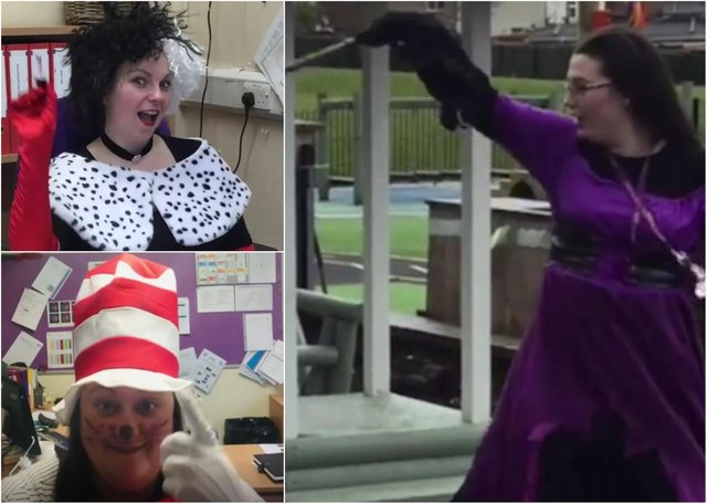 Staff at New Penshaw Academy dressed up as characters from literature to mark World Book Day and to welcome back pupils returning to lessons on March 8.