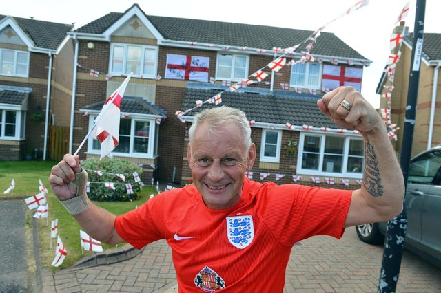 Alan Hurst with his house decorations ready for Euro 2020.