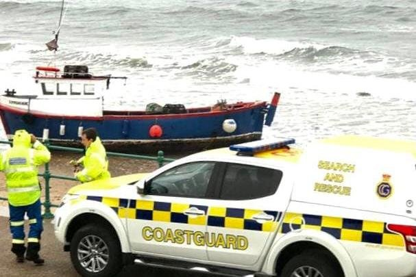 Coastguard officers were called to Seaburn beach after receiving reports that a fishing vessel had ran aground. Photo: Gerry McGill.