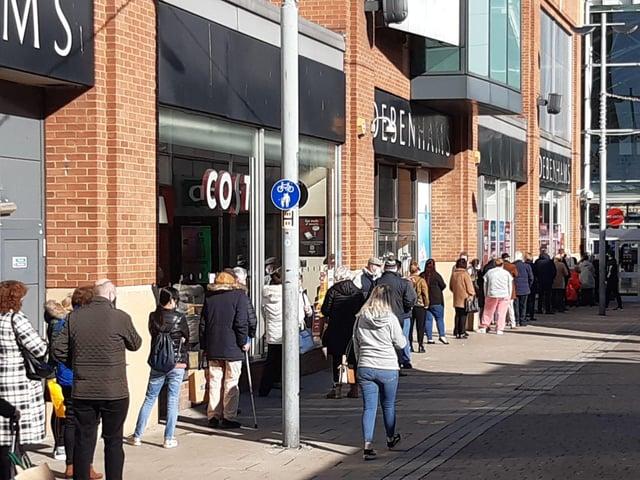 The queue outside Debenhams on Monday morning