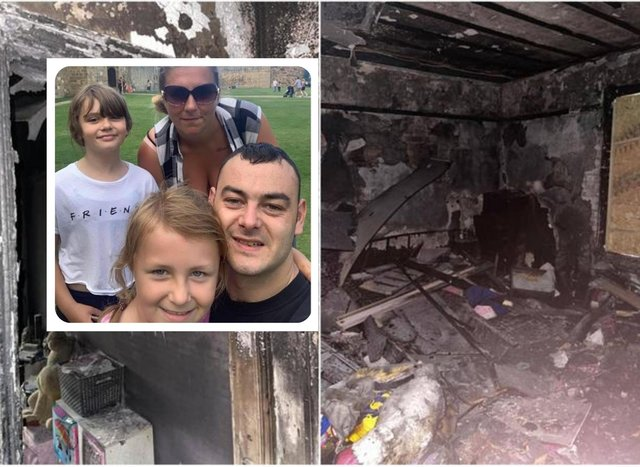 Liam Brady pictures with fiance Kirsty with daughters Stevie-Leigh Brady Wilson (front) and  Leona Ruby Wilson. The family escaped a fire at their home in Penshaw.