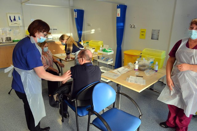 Vaccines being given at Grindon Lane Primary Care Centre as the Covid-19 immunisation campaign began in December.